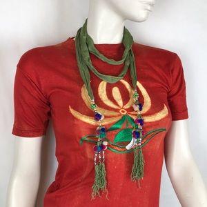 Vintage 70s deadstock green fringe tassel necklace